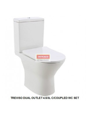 JOHNSON SUISSE COMPLETE SET FOR TREVISO DUAL OUTLET 4.5/3L C/COUPLED WC SET (RIMLESS)(WHITE)