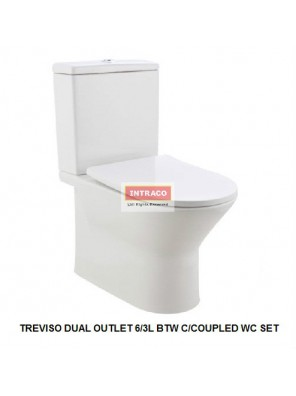 JOHNSON SUISSE COMPLETE SET FOR TREVISO DUAL OUTLET 6/3L BTW C/COUPLED WC SET (RIMLESS)(WHITE)