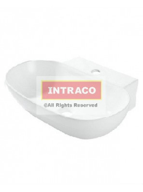 Orin Lisse Wall Hung Basin, Single Taphole W Overflow, Size:555W X 395L X 120H mm (White)