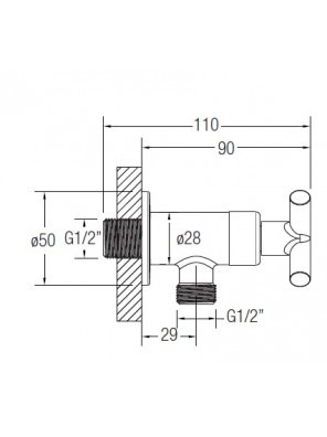 """J.SUISSE Asti-N 1/2"""" Angle Valve With Wall Flange WBFA301412CP"""