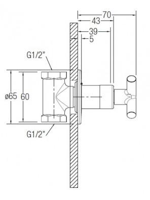 """J.SUISSE Asti-N 1/2"""" Concealed Shower Tap WBFA301413CP"""