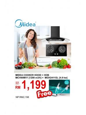 Midea Cooker Hood MCH-90MV1 + Hob MGH-2411GL