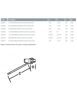"""PEGLER Brass Ball Float Valve MOH L/Duty 50mm (2"""")"""