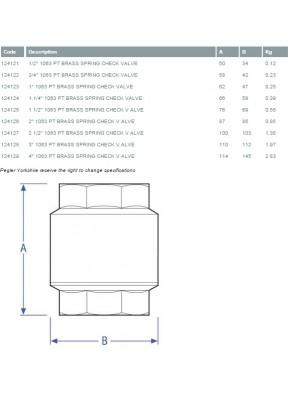 "PEGLER Brass York Check Valve BS1063 15mm (1/2"")"